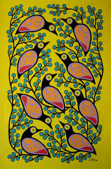 """""""Fellowship of Birds"""" Acrylic on canvas 55"""" x 36"""" unstretched"""