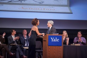 Aminatta Forna receives her prize from Yale President Peter Salovey