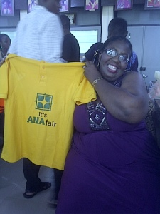 ANA Financial Secretary, Chineyere Obi-Obasi, posing with the official convention tee shirt.