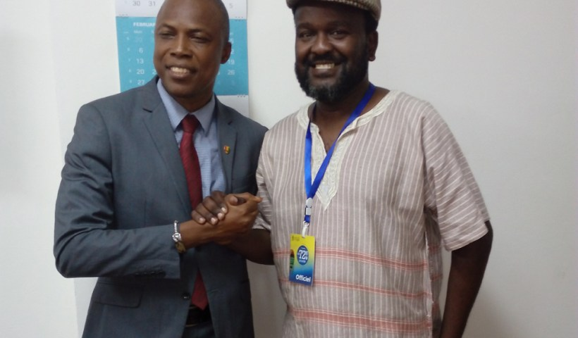 Guinee culture minister Barry Siaka with blogger James Murua