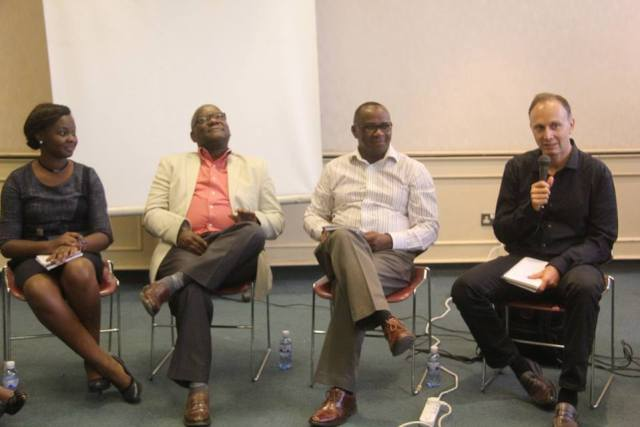 Oxford University Press marketing manager Daisy Rono, Herald Publishers MD David Omuruli, Lawrence Njagi the Kenya Publishers Association Chair, and NB consultant Neil Butcher