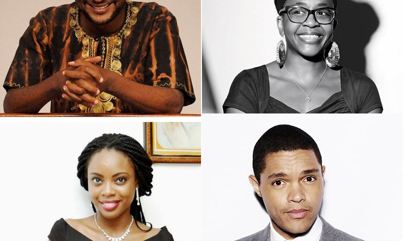 Clockwise from top left: Peter Kimani, Nnedi Okorafor, Trevor Noah, Ayobami Adebayo