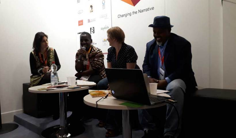 Dr Kenza Sefrioui, Eric Dusabimana, Nathalie Carré, and Dr Jama Musse Jama at Frankfurt Book Fair 2018.