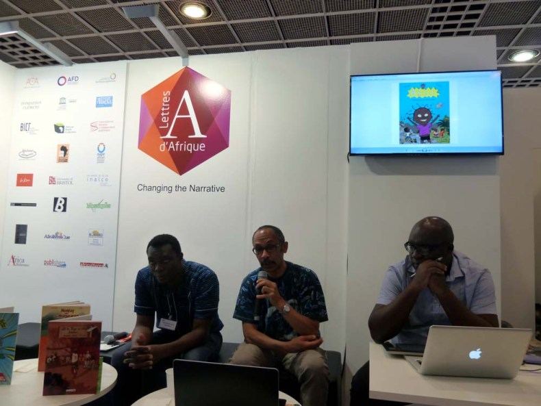 Paulin Assem (Ago Media, Togo), Simon-Pierre Mbumbo (Toom Comics, CameroonFrance), and Christophe Ngalle Edimo (Toom Comics, Cameroon). Photo/Raphaël Thierry