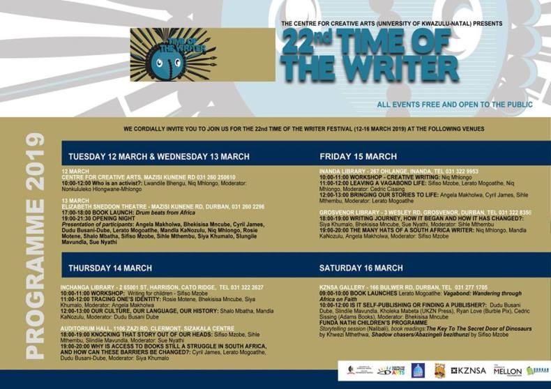 Time of the Writer 2019 program