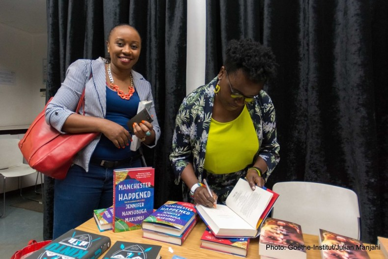 Millicent Muthoni gets her book autographed by Jennifer Nansubuga Makumbi