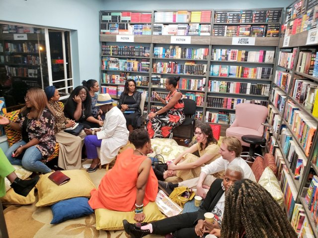 Readers and writers at the bookshop