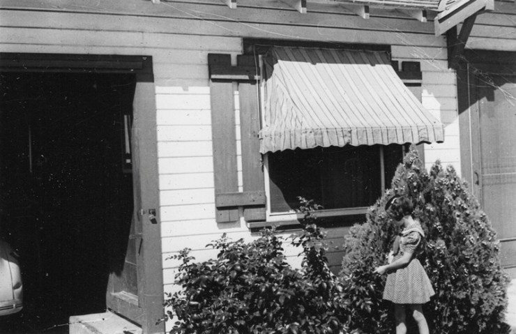 Betty Lou Rathbun age 7 at the site of her birthday party.