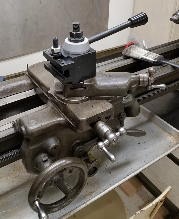 The new tool post holder should make working with this old lathe a bit easier.
