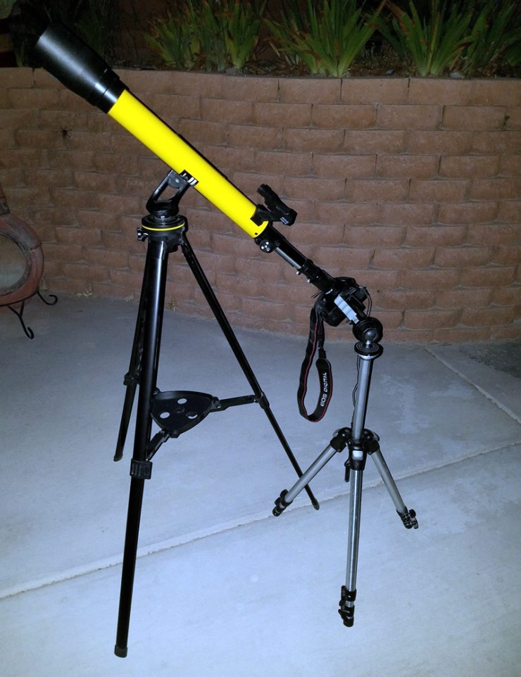 The dual tripod setup from my first lunar photography attempt.