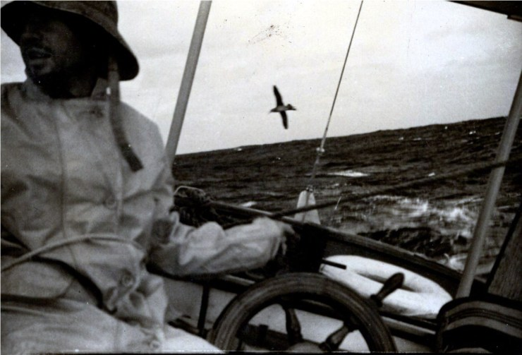 Charles H Duffy in his rain slicker off Catalina Island.