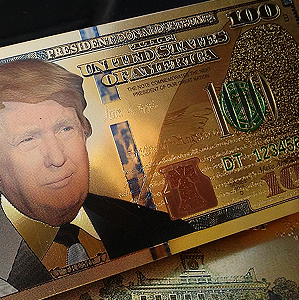 $100 DENOMINATION 24K GOLD 'TRUMP 2020' BANK NOTES w/ 24K Gold Certificate Of Authenticity Stamp On Rear of Note