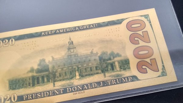 AUTHENTIC 24K GOLD TRUMP 2020 FISTS UP BANK NOTE w/ Certificate Of Authenticity Sleeve - NEW ITEM!