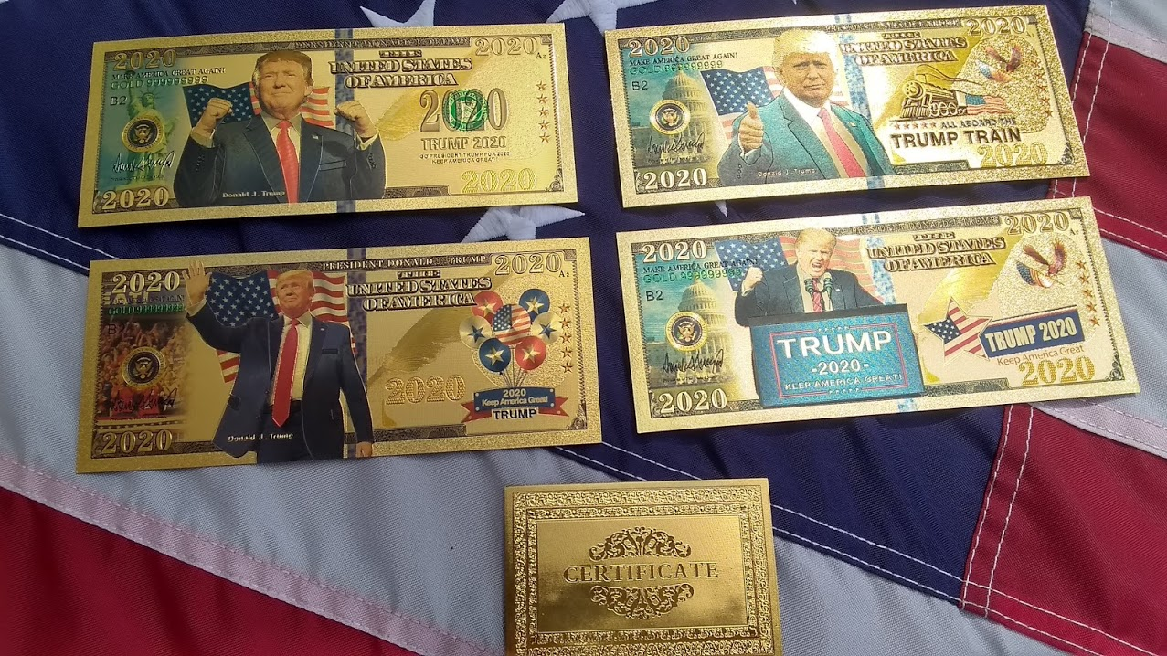 AUTHENTIC 24K GOLD 5 PC 2020 TRUMP BANK NOTE COLLECTOR'S SET w/ Certificate Of Authenticity – NEW ITEM!