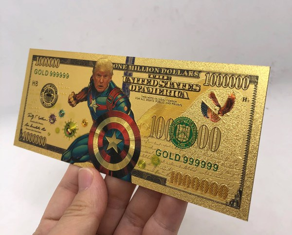 5 PC AUTHENTIC 24K GOLD COMMEMORATIVE SUPER HERO TRUMP BANKNOTE SERIES COLLECTOR'S SET w/ CERTIFICATE OF AUTHENTICITY