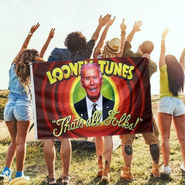 You can REALLY PISS OFF those Liberal FREAKS with this Amazing 'Joe Biden Is Looney Tunes' Flag measures 3ft x 5ft - and it is a MUST HAVE for any Trump supporter & Biden hater! Your flag comes with FREE SHIPPIING in the United States! This is a fantastic gift for Trump (Anti-Biden) merchandise or Trump collectors or friends or family members who love President Trump!