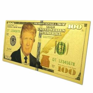 Show your support for President Trump with these AWESOME 24K Gold $100 Denomination Trump Banknote Refrigerator Magnets! Soft, flexible and long-lasting magnet material holds STRONG and LONG and will put your 24K Gold Trump $100 Banknote right where you want it - where everyone can see it! Usually retails for between $24.99 and $39.99, but you can get yours now for only $19.99 with FREE SHIPPING in the USA!