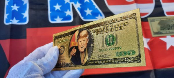 DELUXE AUTHENTIC 24K GOLD DONALD TRUMP $100 BANKNOTE w/ COA STAMP