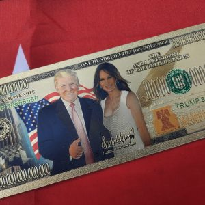 AUTHENTIC 24K GOLD RARE DONALD & MELANIA $100 TRILLION BANKNOTE w/ COA STAMP
