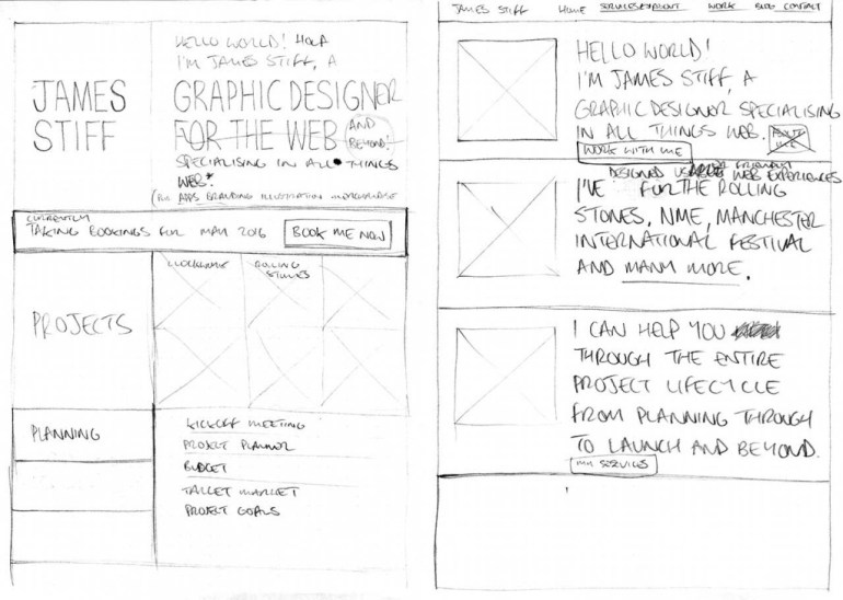 Homepage Wireframes