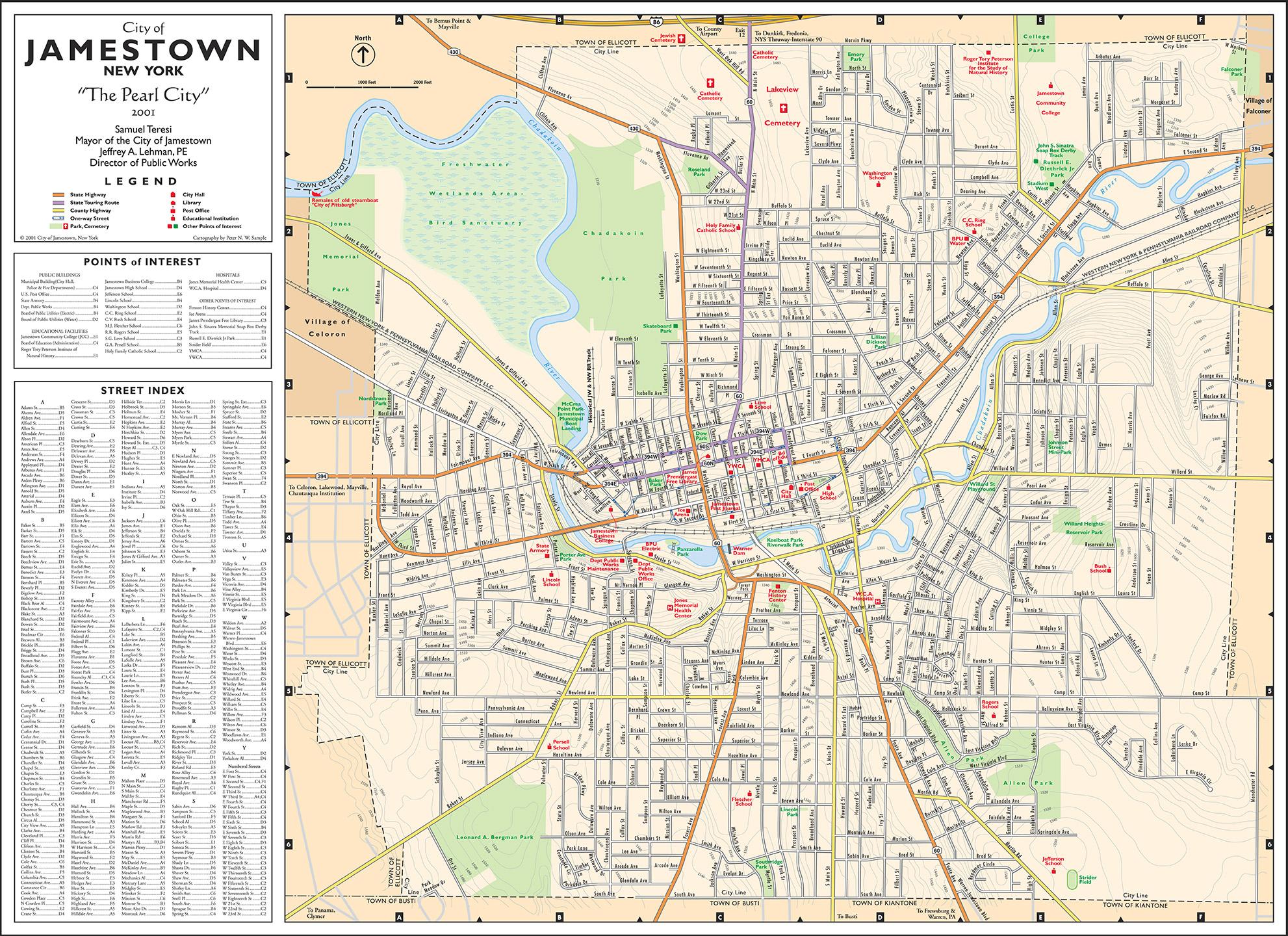 Street Map  City of Jamestown New York