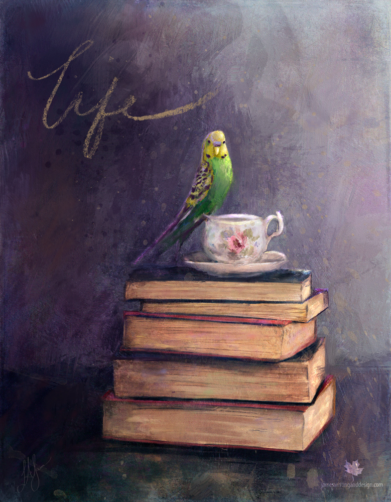 Final image by L.A. James on Read 3. Budgie bird perching on teacups, which is stacked up on a couple of books. The budgie looks at the viewer, and the words Life are written above the bird. Lots of texture, and it has dark purple highlighted with green and yellow.