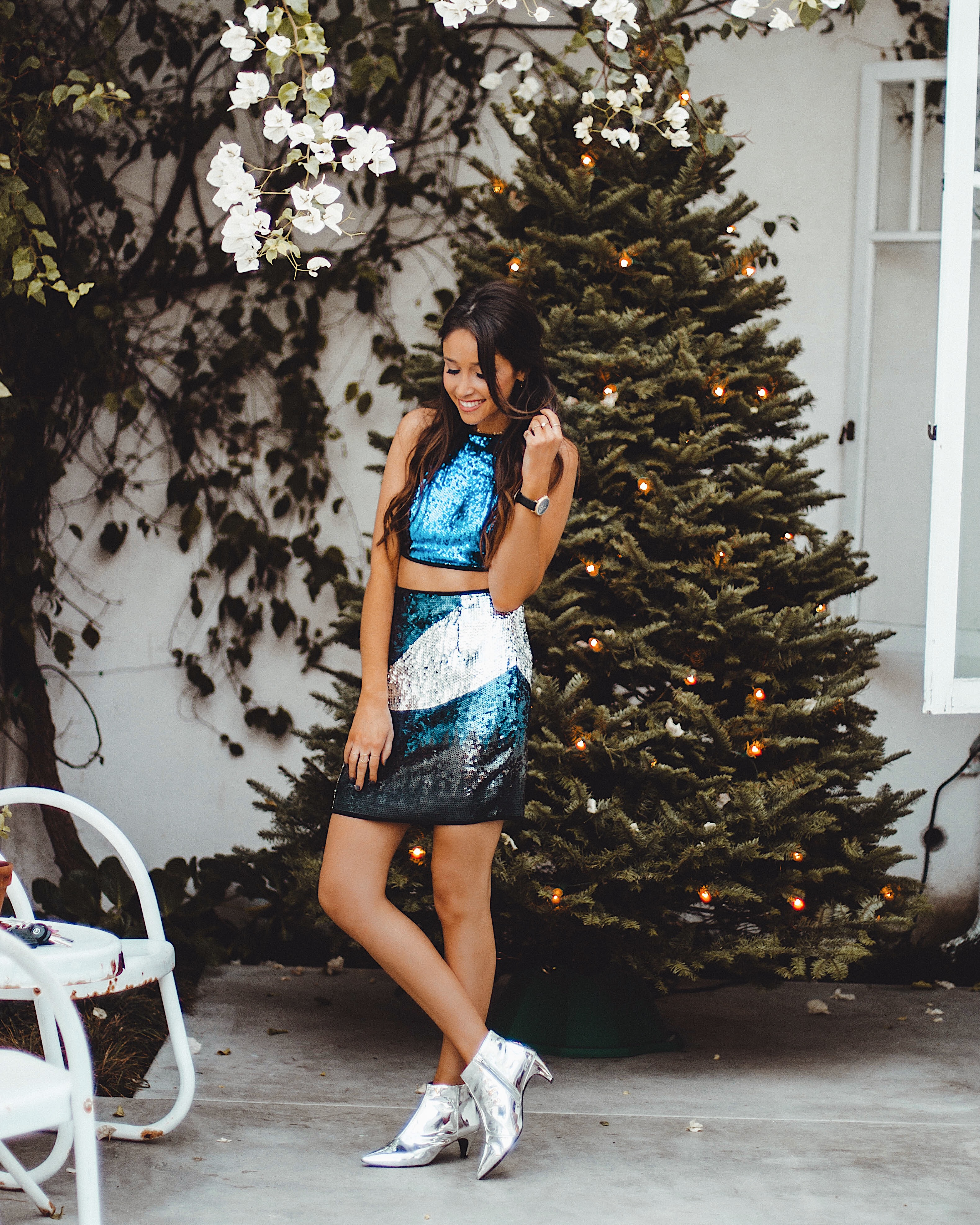 New Year's Eve outfit ideas by jami alix wearing Nasty Gal sparkly set