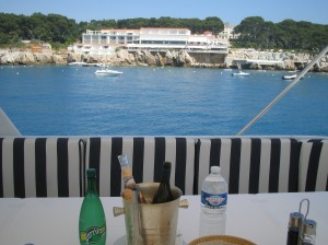 Lunch at sea - Eden Roc in the background