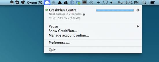 Crash Plan Menu