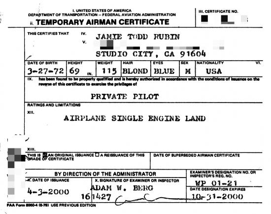 Airman Certificate