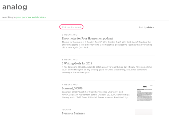 Evernote simple search