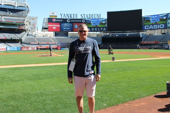 Me, on the field at Yankee Stadium in 2012.