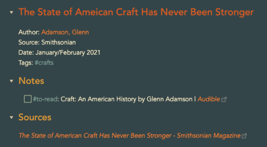 An Obsidian note for an article in Smithsonian by Glenn Adamson