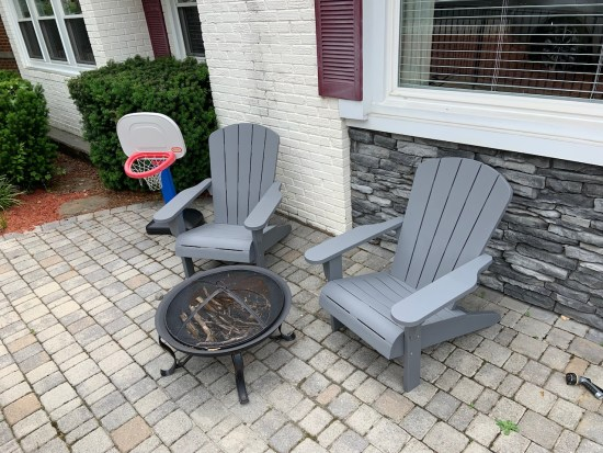 Our new Adirondack chairs on the front patio.