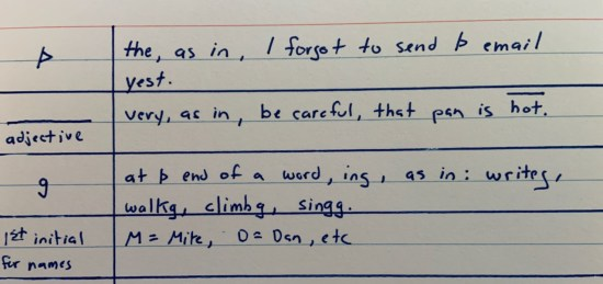 Examples of my shorthand in handwritten notes.