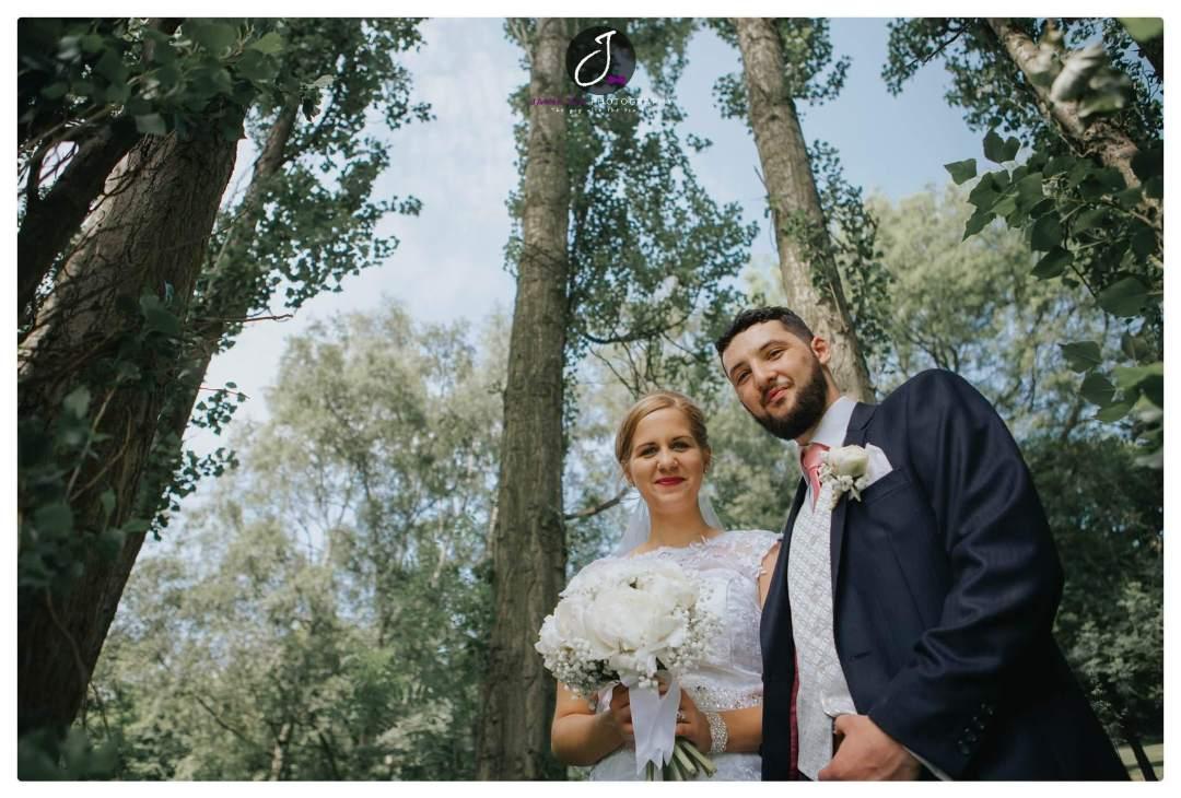 Woodland wedding portrait Yorkshire