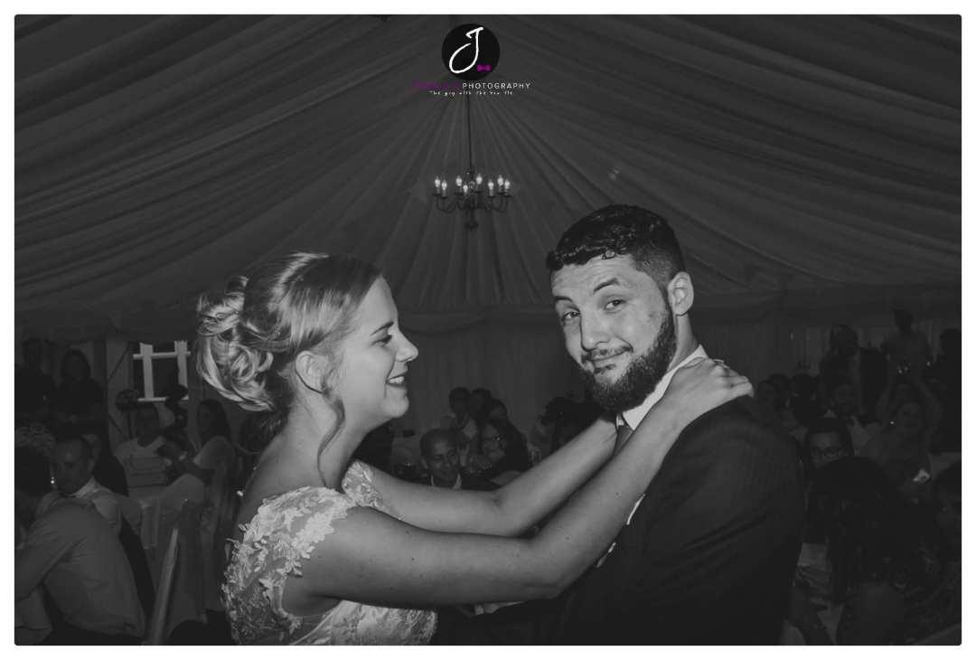 Fun wedding portrait at Holmfield Arms Yorkshire wedding venue