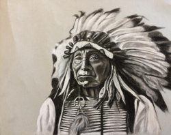 Black and White Charcoal Drawing - Red Cloud Native American Portrait by Colorado Artist Jamie Wilke