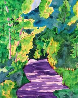 Summer Woods Walk - Watercolor by Colorado Artist Jamie Wilke