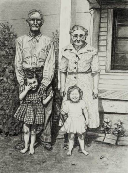 """Texas Peanut Farm"" - Black and White Charcoal Drawing - Family Portrait Commission by Jamie Wilke"