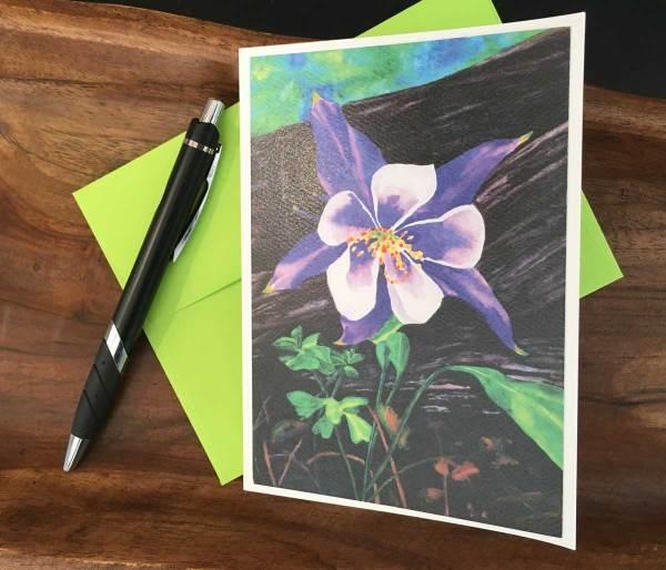 Fine Art Notecard: Columbine - by Palmer Lake Artist Jamie Wilke