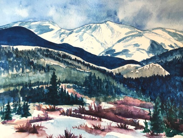 "Watercolor Fine Art Painting of Mountains ""Winter in Tabernash Colorado"" by Jamie Wilke"