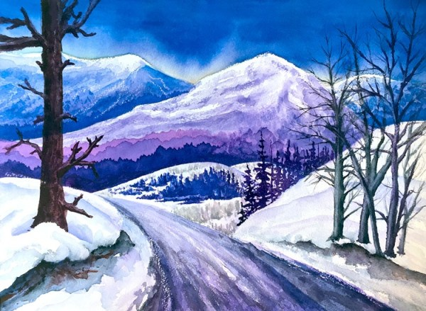 Rocky Mountain Winter Sunset watercolor painting by Colorado Artist Jamie Wilke