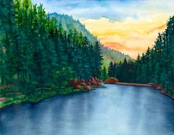 Sunrise at Palmer Lake Reservoir - Original Watercolor by Jamie Wilke