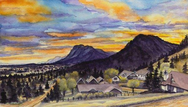 """""""Palmer Lake Peaks at Sunset"""" - Watercolor by Jamie Wilke Fine Art"""