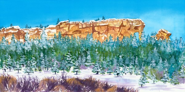 Snowy Elephant Rock in Palmer Lake Colorado