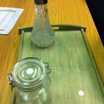 butler tray, crystal decanter & storage jar