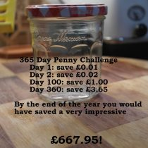 365 Day Penny Challenge - You save up a whopping £667.95 in a year!