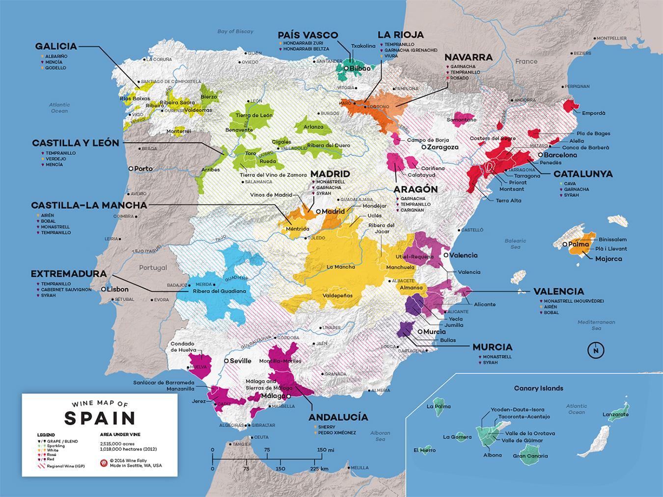 Big Map Of Spain.Spanish Wine Archives Jammy Wine