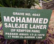 Mohammed Salejee Laher (Bawa) Kempton Park March 17, 1979
